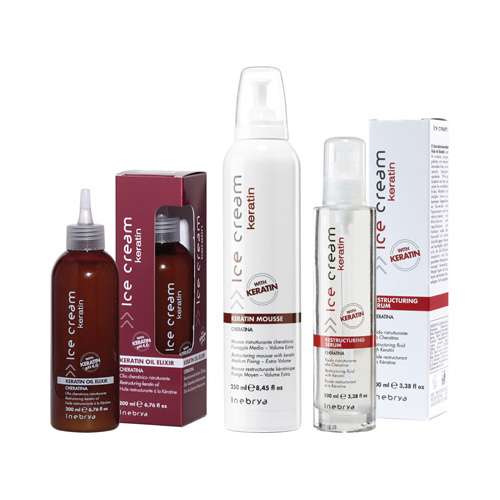 ICE CREAM KERATIN-mousse, serum, oil elixir - INEBRYA